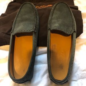 Tods women's gray suede loafers - size 38